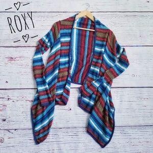 ROXY Open Front Stripe Drape Cardigan